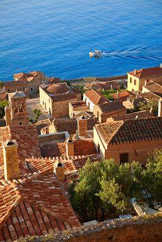 Arial view of beautiful Monemvasia in Peloponnese ~ Greece