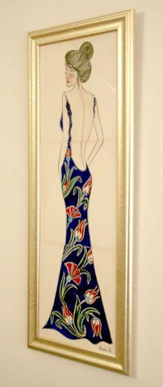 çini pano (Çinili Kadın) Çini desenleriyle oluşturulmuş özel tasarım