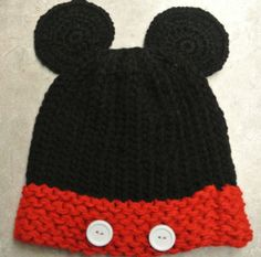 Knitted Mickey Mouse Hat- I really need to learn to knit hats so the kids can have these