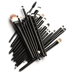 Unimeix 20 Pcs Pro Makeup Set Powder Foundation Eyeshadow Eyeliner Lip Cosmetic Brushes Black ** Details can be found by clicking on the image. (Note:Amazon affiliate link)