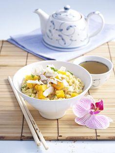 Congee (Reisbrei) mit Mango
