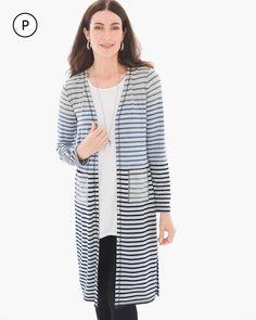 Chico's Women's Zenergy Petite Radley Striped Long Cardigan