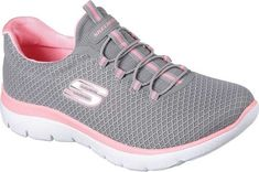 Reach the heights of sporty style and comfort with the SKECHERS Summits shoe. Nearly one piece soft smooth flat knit mesh fabric upper in a bungee laced slip on athletic training sneaker with stitching accents. Training Sneakers, Cross Training Shoes, Sketchers Shoes Women, Baskets, Fabric Shoes, Sporty Style, Sporty Outfits, Kpop Outfits, Girls Shoes