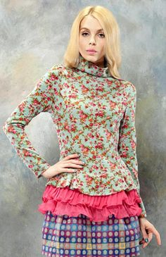 ELF SACK Floral Printed T-shirt With Roll Neck #eclectic