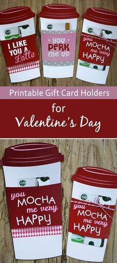 You& love this last-minute Valentine& Day gift card holder. Grab a Starbucks gift card and print this free holder to with it. You can even print it on paper for Venti size! So cute and so easy. Ideas it yourself valentine gift Valentines Day Party, Valentine Day Crafts, Holiday Crafts, Homemade Valentines, Valentines Cards For Teachers, Valentine Gifts For Toddlers, Cute Valentine Sayings, Mom Valentines Day Gift, Valentines Card Holder