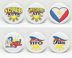 Pinoy Love 1 pinback button  Six Options or  Set of by OhBoyLoveIt
