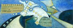 A summer night original mixed media artwork on cradled by Cesart64, $180.00