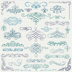 Vintage hand drawn swirls ornaments with corner vector 02