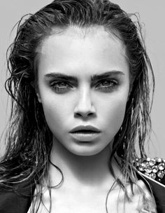 wet look on #CaraDelevingne | similar to this is Prada's wet look here http://www.fashionising.com/hair/b--prada-dishevelled-noir-hairstyle-48403.html