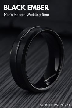 This all-black tungsten wedding band has been designed with a high polished channel groove that cuts through the center of the ring. We added a satin texture look on top of the ring running parallel with the polished center groove. He really wants a all black wedding ring and this one is it! #blackrings #mensweddingrings Wedding Ring Men, Wedding Bands For Men, Modern Wedding Rings, Black Wedding Rings, Tungsten Wedding Bands, Black Rings, Black And White Wedding Theme, Just In Case, Fairytale