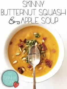 Skinny Butternut Squash & Apple Soup — Only 159 calories in a full bowl serving of this amazing fall soup! Thick, rich, and wonderfully creamy - without cream.