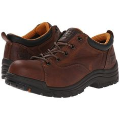Timberland PRO TiTAN Oxford (Brown Full-Grain Leather) Women's... ($120) ❤ liked on Polyvore featuring shoes, oxfords, leather upper shoes, safety toe shoes, timberland pro shoes, timberland pro and steel toe shoes