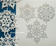 Crochet Flower Squares, Crochet Snowflake Pattern, Crochet Stars, Christmas Crochet Patterns, Crochet Snowflakes, Crochet Flowers, Crochet Stitches Chart, Crochet Diagram, Crochet Motif
