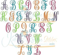 Our Elegant Script is perfect for just about anything monogrammed. This Beautiful Script has been manually digitized the way you would actually write it. Embroidery Fonts, Embroidery Applique, Machine Embroidery, Embroidery Designs, Script, Alphabet, Monogram, Writing, Sewing