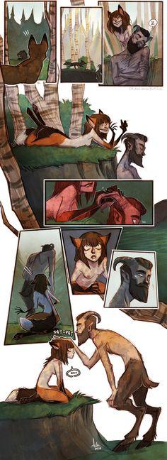 first meeting by Fukari I love Fukari's art so much, but this fox and satyr that she has done recently I just adore. Fantasy Creatures, Mythical Creatures, Illustrations, Illustration Art, Character Inspiration, Character Design, Image Pinterest, Art Manga, Cute Stories