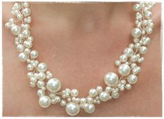 Wedding Pearl Necklace Pearly Girly by VirginiaGeigerJewels, $120.00