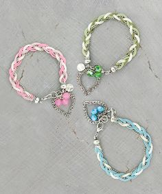 Look what I found on #zulily! Heart Charms Bracelet - Set of Three by Coyne's & Company #zulilyfinds
