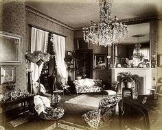 Interior view in the drawing room of Moray Lodge, looking towards the fireplace. Moray Lodge, 1893. © English Heritage