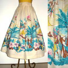 1950s Vintage Tropical Circle Skirt
