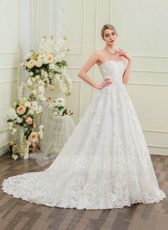 Ball-Gown Sweetheart Chapel Train Lace Wedding Dress (002095854) - Wedding Dresses - JJsHouse