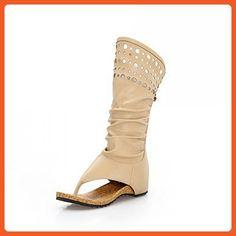 WeiPoot Women's Pu Solid Zipper Split Toe Low Heels Sandals, Beige, 39 - Sandals for women (*Amazon Partner-Link)