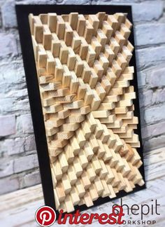 Wood Wall Art - Natural Wood - Modern Abstract Wood Art - Large - shou sugi ban frame -Mosaic - Sound Diffuser- Sound Panel in 2019 Wooden Wall Art, Wooden Walls, Diy Wall Art, Diy Art, Wall Wood, Art Turquoise, Grand Art Mural, Geometric Wall Art, Geometric Sculpture