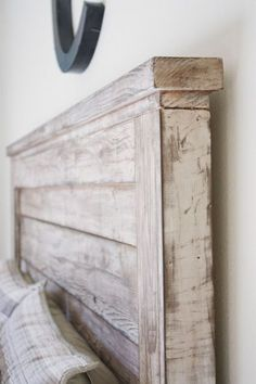 DIY distressed white wood stained vintage style headboard like pottery barn mason headboard easy to make pretty reclaimed salvaged plans by ANA-WHITE.com