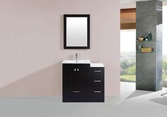 "36"" Redondo Espresso Single Modern Bathroom Vanity with Side Cabinet and Integrated Sink #BathroomRemodel #BlondyBathHome #BathroomVanity   #ModernVanity"