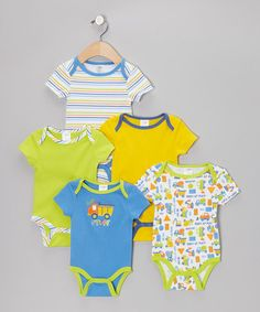 Take a look at this Blue 'Tuff Stuff' Watch-Me-Grow Bodysuit Set by Baby Gear on #zulily today!