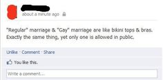 The difference between regular and gay marriage.
