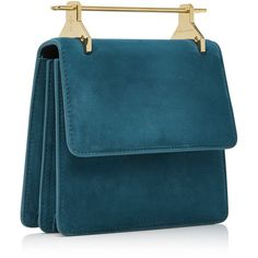 M2Malletier M'O Exclusive Suede Mini Collectioneuse (19,075 MXN) ❤ liked on Polyvore featuring bags, handbags, shoulder bags, miniature purse, blue suede handbag, blue purse, blue bag and blue suede bag