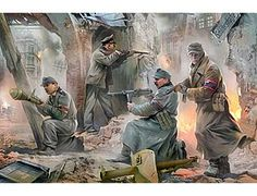 The Zvezda German Volkssturm Berlin 1945 in 1/35 scale from the plastic figure models range accurately recreates the real life German soldiers fighting in Berlin at the end of World War II. This plastic figures kit requires paint and glue to complete.