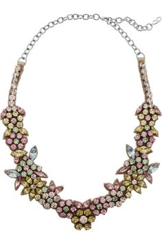 Valentino- Swarovski Crystal Floral Necklace