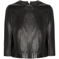 J Brand Baez leather top (510 CAD) ❤ liked on Polyvore featuring tops, jackets, shirts, zipper top, zipper shirt, elbow sleeve tops, elbow length tops and leather top