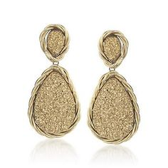 Italian Golden Drusy Earrings. Be the center of attention with this gold earrings. >>Click on the pin to shop Drusy Jewelry.