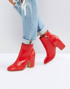 d20536b4ae Pimkie red ankle boots Red Ankle Boots, Flat Boots, Heeled Boots, Side Zip