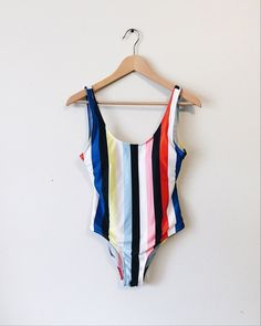 Striped one piece swimsuit, colorful swimwear #sorority #preppy #summer #onepiece