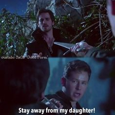 aww Papa Charming's playing protective daddy...he doesn't want his princess w/the big bad pirate...i'm sure deep down he ships CaptainSwan cuz he sees the concern Hook has for him & what a good guy he is