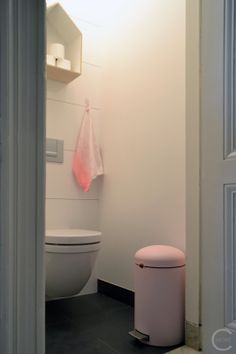 My new mineral pink retro bin by Brabantia and house by Bloomingville and towel by HAY at my new toilet :-) interieurcursus.blogspot.com