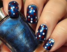 Confessions of a Sarcastic Mom: I bought it week - Fourth of July nail art with Wet n Wild and Essence polishes!