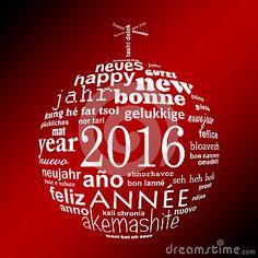 Tarjeta de felicitación multilingüe de la nube de la palabra del texto del Año Nuevo 2016 en la forma de una bola de la Navidad