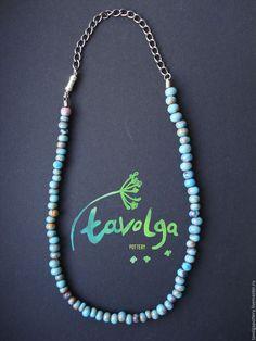 Купить Lazur (small) - бирюзовый, глина, turquoise, blue, lazur, boho, глазурь, колье, глина