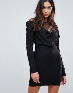 PrettyLittleThing Lace Insert Drape Front Mini Dress - Black