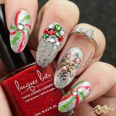 """""""Peppermint Pinwheels"""" Products: Lacquer Lust I've Been A Good Unicorn, Lacquer Lust Meet Me Under The Disco Ball, Lacquer Lust Forbidden Fruit, Lacquer Lust Poison Ivy, Chez Delaney Noel A001, Artbeads Swarovski crystals"""