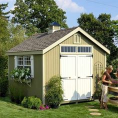 garden shed Little Cottage Company Colonial Williamsburg Wood Storage Shed Size: 8 x 8 Wooden Storage Sheds, Storage Shed Plans, Diy Storage, Roof Storage, Plastic Storage, Small Storage, Extra Storage, Storage Ideas, Backyard Sheds