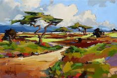 Artwork of Carla Bosch exhibited at Robertson Art Gallery. Original art of more than 60 top South African Artists - Since Art And Illustration, Illustrations, Landscape Artwork, Abstract Landscape Painting, Colorful Paintings, Cool Paintings, South African Artists, Bosch, Whimsical Art