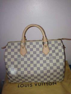 Louis Vuitton Speedy 30 In Damier Azur White Leather Bag - Satchel $830
