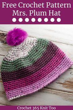 Crochet Beanie Hat Free Pattern, Chunky Crochet Hat, Quick Crochet Patterns, Crochet Kids Hats, Crochet Blanket Patterns, Crochet Crafts, Free Crochet, Crocheted Hats, Easy Crochet