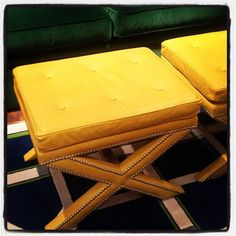 .@tobifairley | Yellow leather x benches at Wesley Hall. Yummy! #hpmkt | Webstagram - the best Instagram viewer