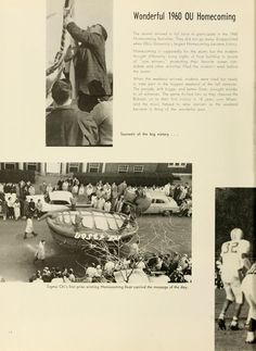 """Athena Yearbook, 1961. Ohio University Homecoming, """"Souvenir of the big victory... Sigma Chi's first prize winning Homecoming float carried the message of the day"""" Fall 1960, Ohio University Archives"""